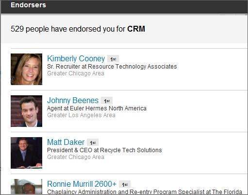 CRM LinkedIn Endorsements