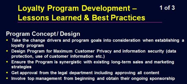 Loyalty Program Lessons Learned - 1 of 3