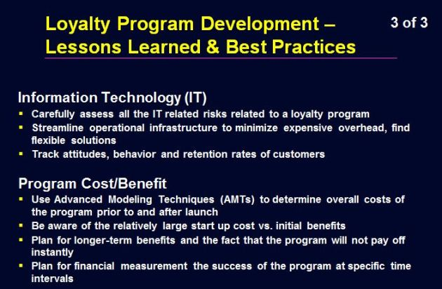 Loyalty Program Lessons Learned - 3 of 3