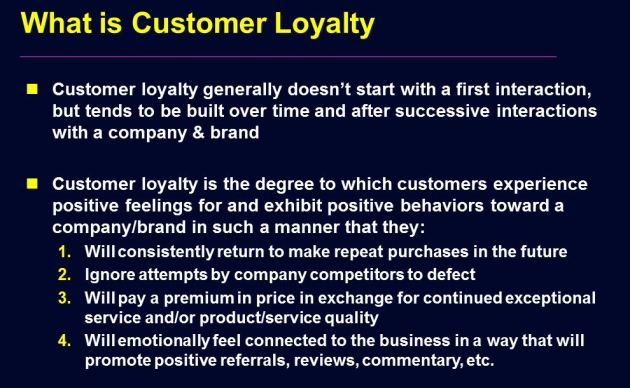 customer loyalty definition analysis Of customer loyalty on corporate social responsibility (csr) csr is a good   csr was to custom- ers a variance analysis was done to define any statistically.