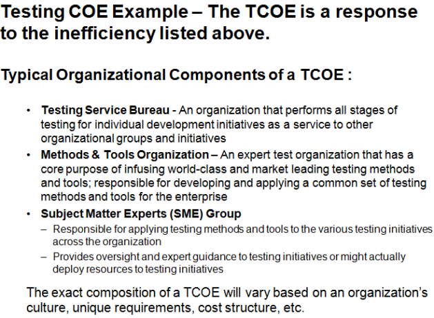 Typical Functions Delivered by a Testing COE