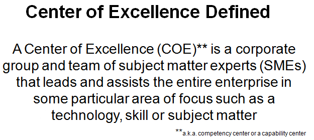 Center of Excellence Definition