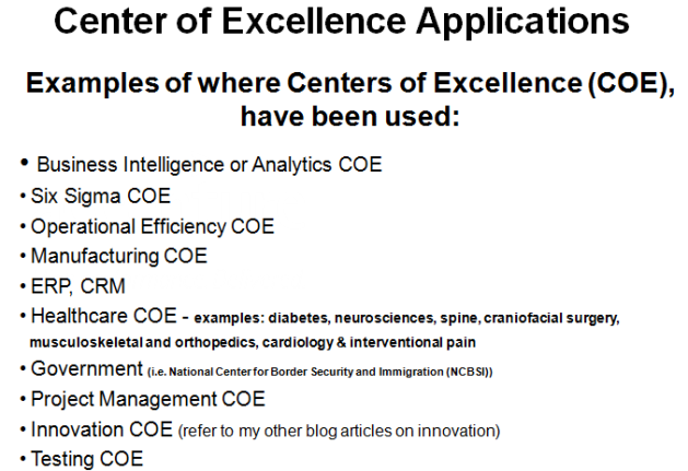 Center of Excellence Applications